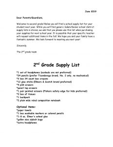 Second Grade Supply List